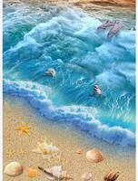 Пользовательские фото Водонепроницаемый пол обои 3 D Ocean Beach 3d росписи ПВХ обои самослипание пол wallpaer