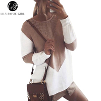 Lily Rosie Girl Fashion Knitted O Neck Women Sweaters Full Sleeve Long Split Pullovers Patchwork Pattern