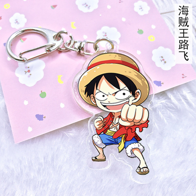 Anime One piece Acrylic keychain Ace Luffy Law Choppe Sanj Roronoa Zoro cartoon double side pendant Llaveros Jewelry Accessories