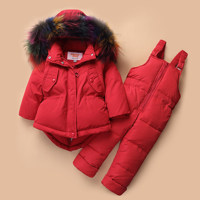 Russia Winter Clothing Sets Snow Jackets Pant 2pcs Set Baby Girls Duck Down Coats Jacket Colorful Fur Hood Waterproof OuterwearRussia Winter Clothing Sets Snow Jackets Pant 2pcs Set Baby Girls Duck Down Coats Jacket Colorful Fur Hood Waterproof Outerwear