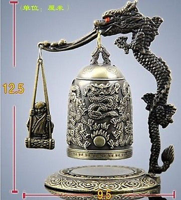 2pcs Chinese Meditation Gong With 7 Ornate Bells With Dragon Design Statue Garden Decoration 100% Tibetan Silver Home Office Storage