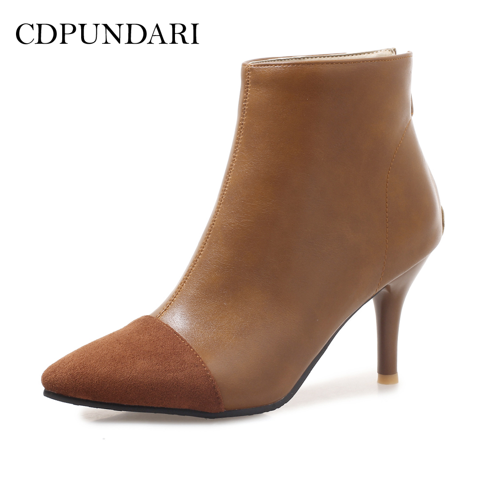 CDPUNDARI Patchwork Ankle boots for Women High heel boots
