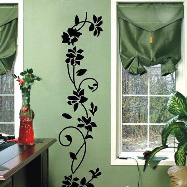Vinilo removible negro flores flor de la vid etiqueta de la pared Mural inicio s