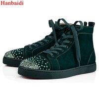 Люксовый бренд Кристалл Для мужчин s кроссовки с высоким берцем Для мужчин кроссовки круглый носок заклепками заклепки обувь на шнуровке из