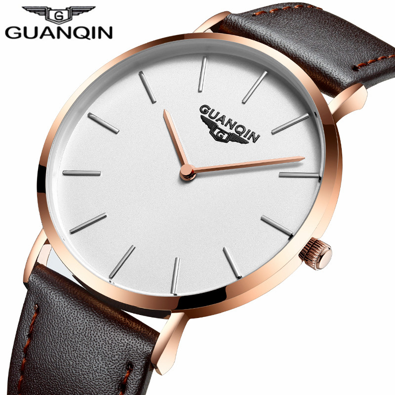 relogio masculino GUANQIN Mens Watches Top Brand Luxury Simple Ultra Thin Men Casual Fashion Leather Waterproof Quartz Watch forsining fashion brand men simple casual automatic mechanical watches mens leather band creative wristwatches relogio masculino