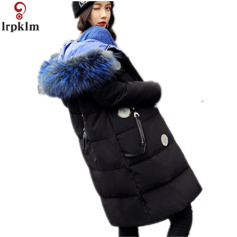 2018 New Winter Women Down Jacket Super Large Real Raccoon Fur Collar Down Cotton Coat Thick Warm Hooded Parkas TP016