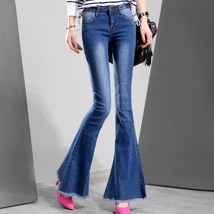 Women Bell Bottom Jeans New 2017 Korean Fashion Flare Jeans Washed Blue Denim Pants Free Shipping цена и фото