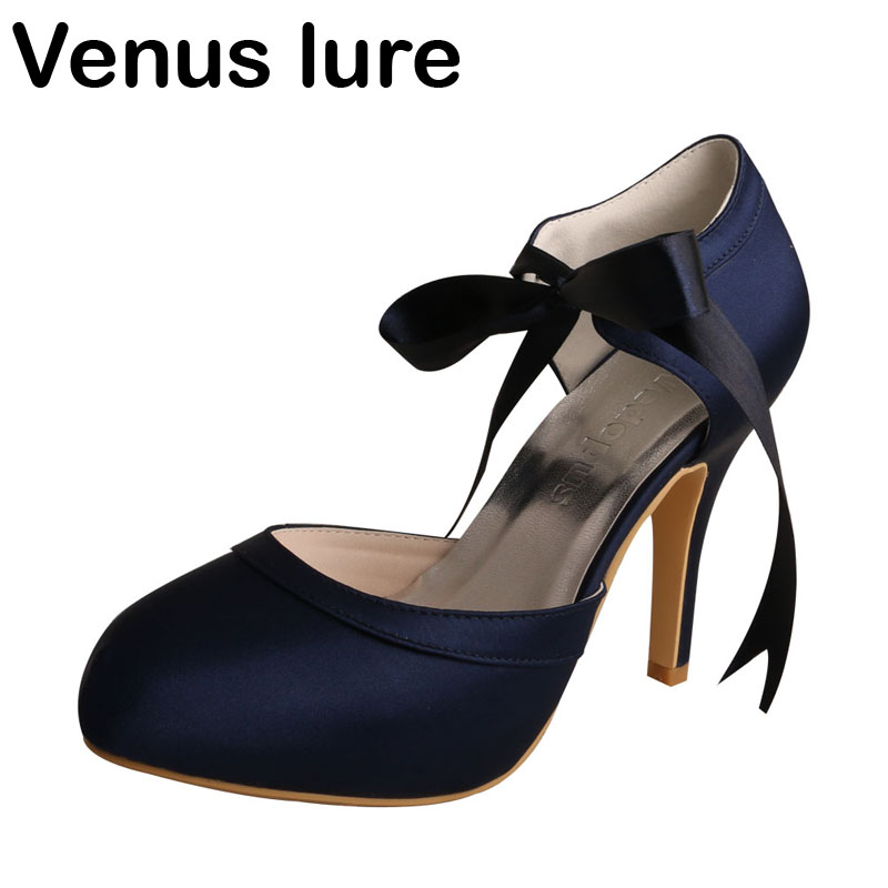 Venus lure Top Selling Womens Mary Jane Platform Heel Evening Wedding Shoes in Navy Blue туфли ecco 239503 56013 cayla mary jane