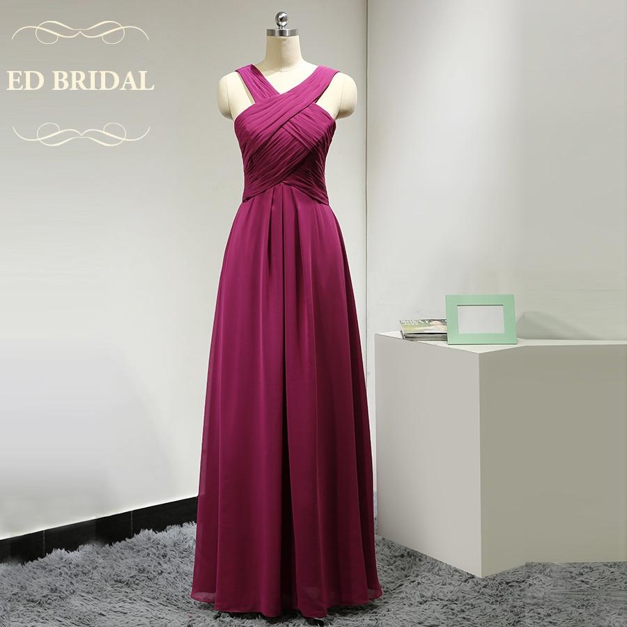 Custom made chiffon long fuchsia bridesmaid dresses for Made of honor wedding dress