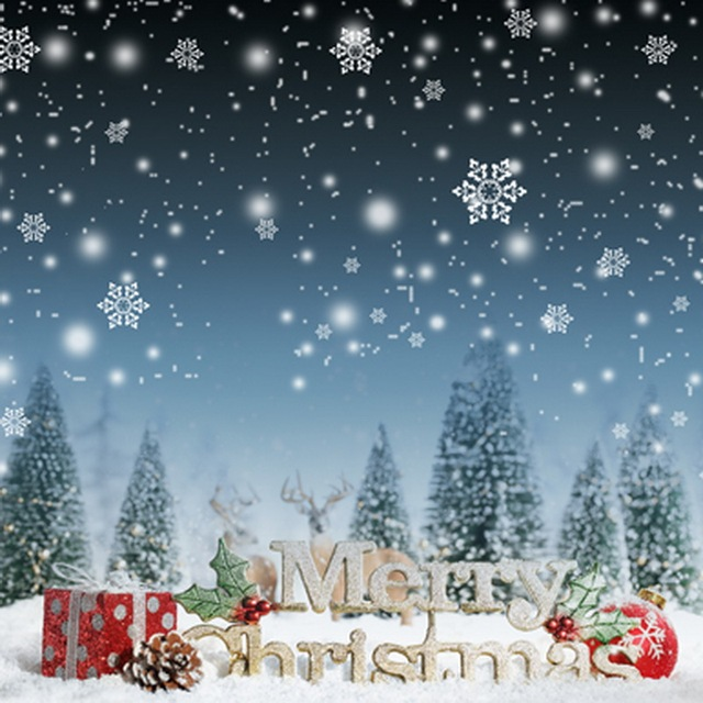 10x10ft Snowflakes Sky Reindeer Snowy Forest Field Merry