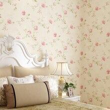 цена на Warm Garden Big Flower Non-woven Wall Paper Bedroom Living Room Study Wedding Room Full Retro American Country Wallpaper Roll