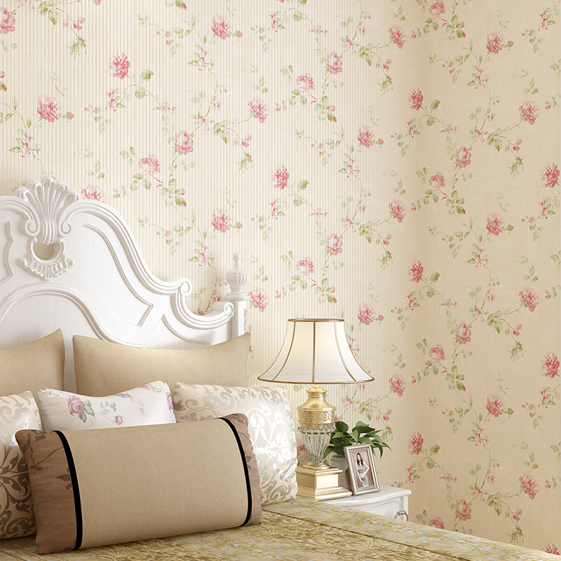 Warm Garden Big Flower Non-woven Wall Paper Bedroom Living Room Study Wedding Room Full Retro American Country Wallpaper Roll image