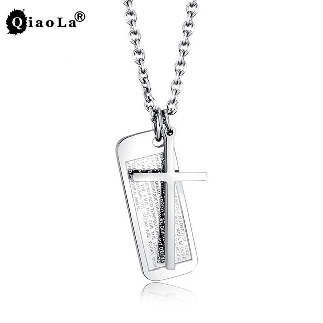 Titanium steel Crucifix Jesus Cross Pendants Necklaces For Men