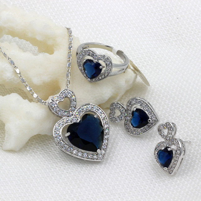 Luxury Montana Blue Crystal Jewelry Sets For Women 925 Sterling Silver Earring/Pendant/Necklace/Ring Free shipping