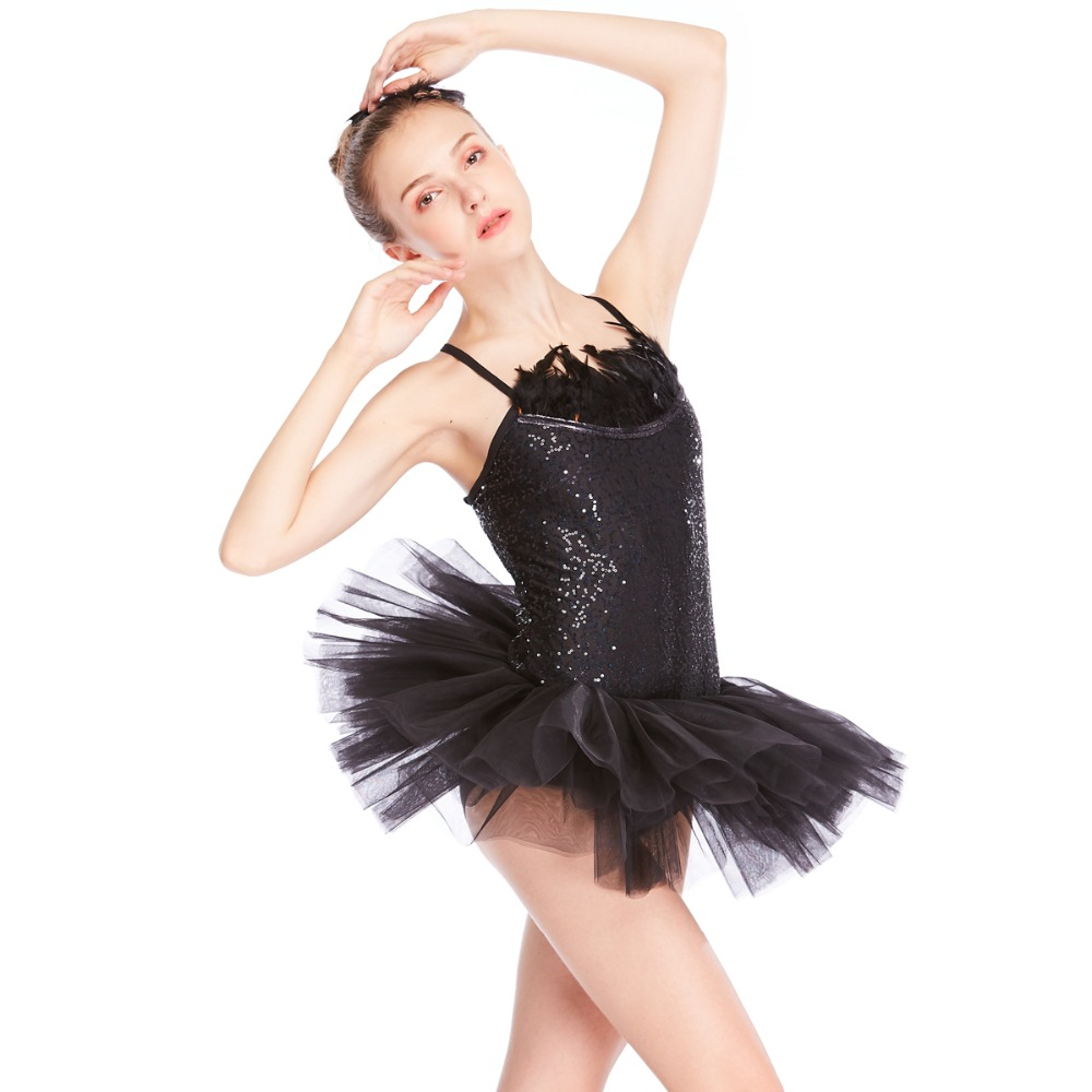 2023983d13 MiDee Black Swan Ballet Tutu Dress Feather Trimmed Neckline Sequins Leotard  with Tutu Skirt Dance Costumes 2 Pieces -in Ballet from Novelty & Special  Use on ...