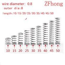 Micro fio de compressão de diâmetro 0.8mm, comprimento pequeno de mola de compressão de 8mm de diâmetro exterior, 20 peças mm-50mm