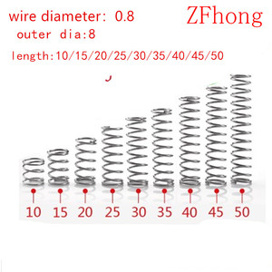 20pcs compression spring wire diameter 0.8mm outer diameter 8mm Stainless Steel Micro Small Compression spring length 10mm-50mm