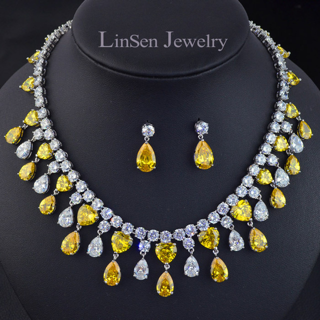 New design big brand yellow golden stone luxury necklace earring party/wedding bridal jewelry sets,high quality zircon sets