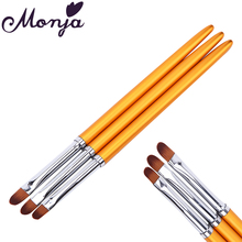 3 Size Nail Art Gold Round Top Paint Brush Set Acrylic Gel Polish Tips Extension Coating 3D Petal Flower DIY Drawing Shaping Pen