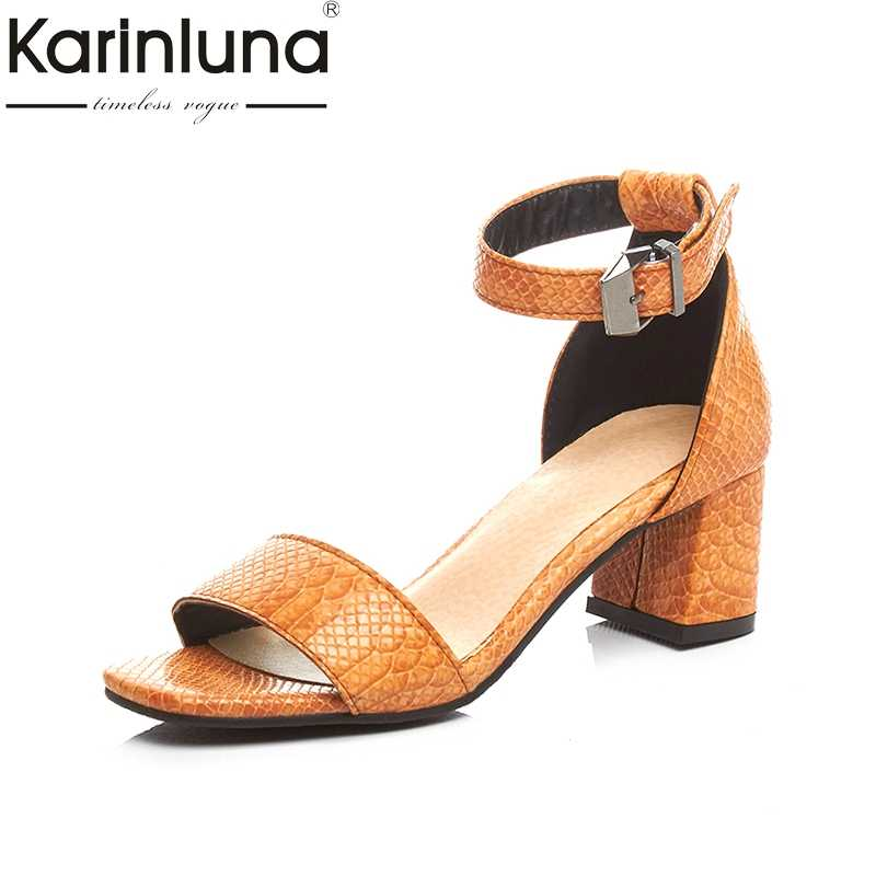 0034ce34f34 karinluna plus size 33-42 New Brand 2018 Buckle Strap office black Women  Shoes Solid