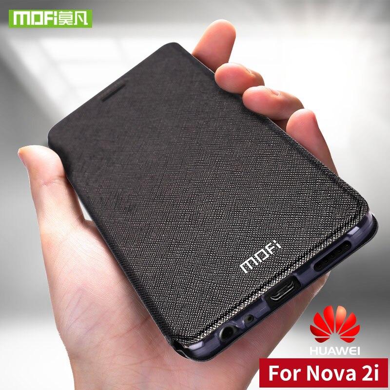 Para Huawei Nova tampa da caixa do silicone Para Huawei Nova 2i 2i caso de couro da aleta 360 à prova de choque original mofi Para Huawei Nova 2i caso