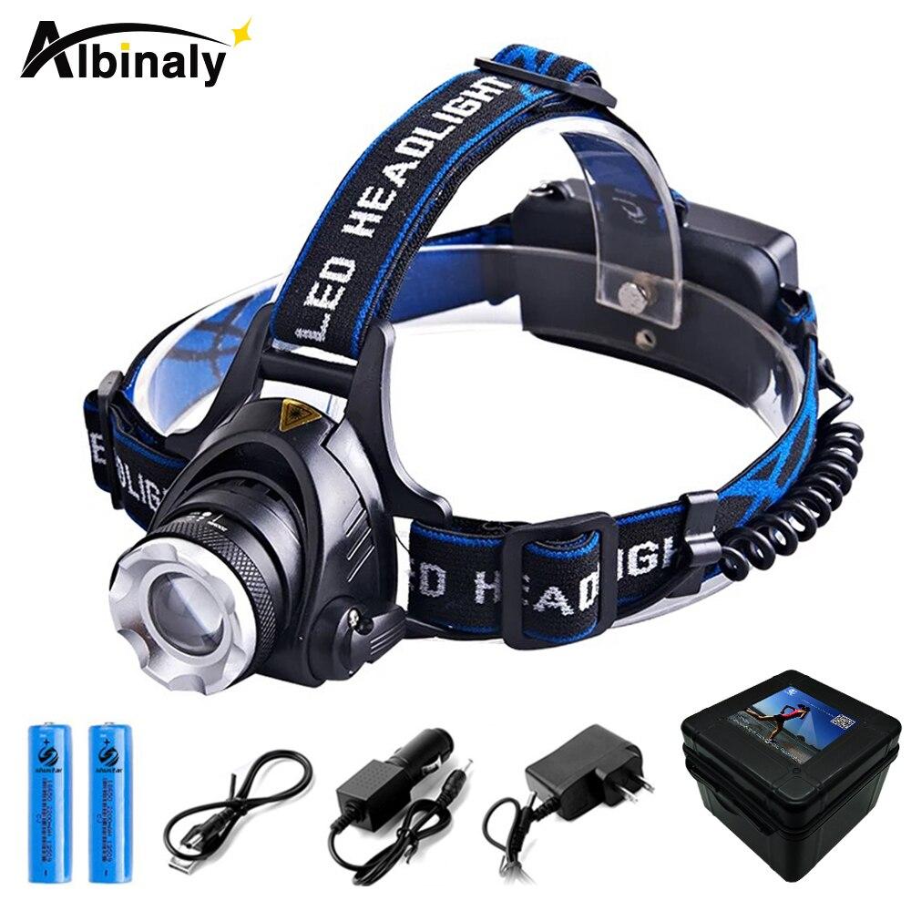 Albinaly RU 6000LM Cree XML-L2 XM-L T6 Led Scheinwerfer Zoomable Scheinwerfer Wasserdicht Stirnlampe Kopf lampe Angeln Jagd Licht