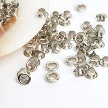 Œillets ronds argentés en métal de 5mm, 100 pièces, trou intérieur, pour Scrapbooking, embellissement, vêtements