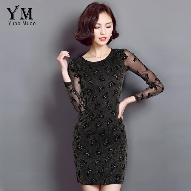 Yuoomuoo 2016 New Style Shining Spring Dress Women Fashion Erfly Design Basic Korean Vestidos Y