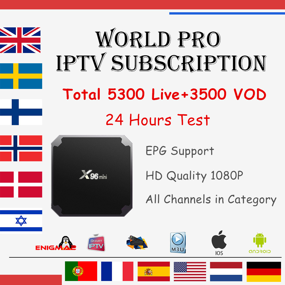 World IPTV Subscription X96 mini Android 7.1 TV box 5300 Live Arabic France Dutch Israel UK Sweden Norway M3U mag smart iptv box часы mini world mn1012a
