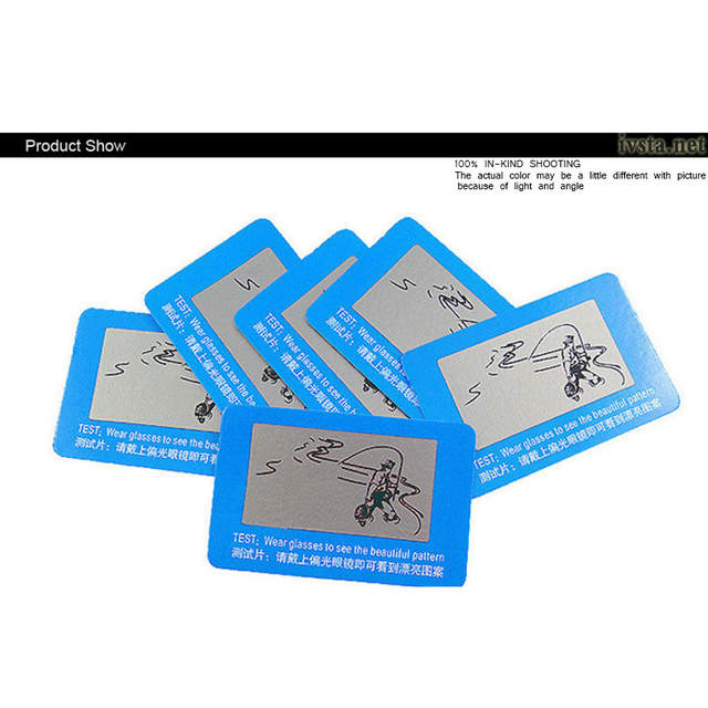 531e391ac6514 placeholder O Envio gratuito de Atacado 100 peças lote TAC Lente Polarizada  Cartão De Teste para