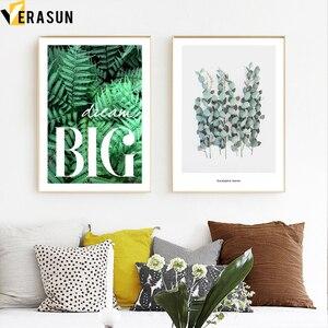 Image 3 - الأخضر نبات السرخس يترك الهندسة يقتبس الرسم على لوحات القماش الجدارية الشمال الملصقات والمطبوعات جدار صور لغرفة المعيشة ديكور