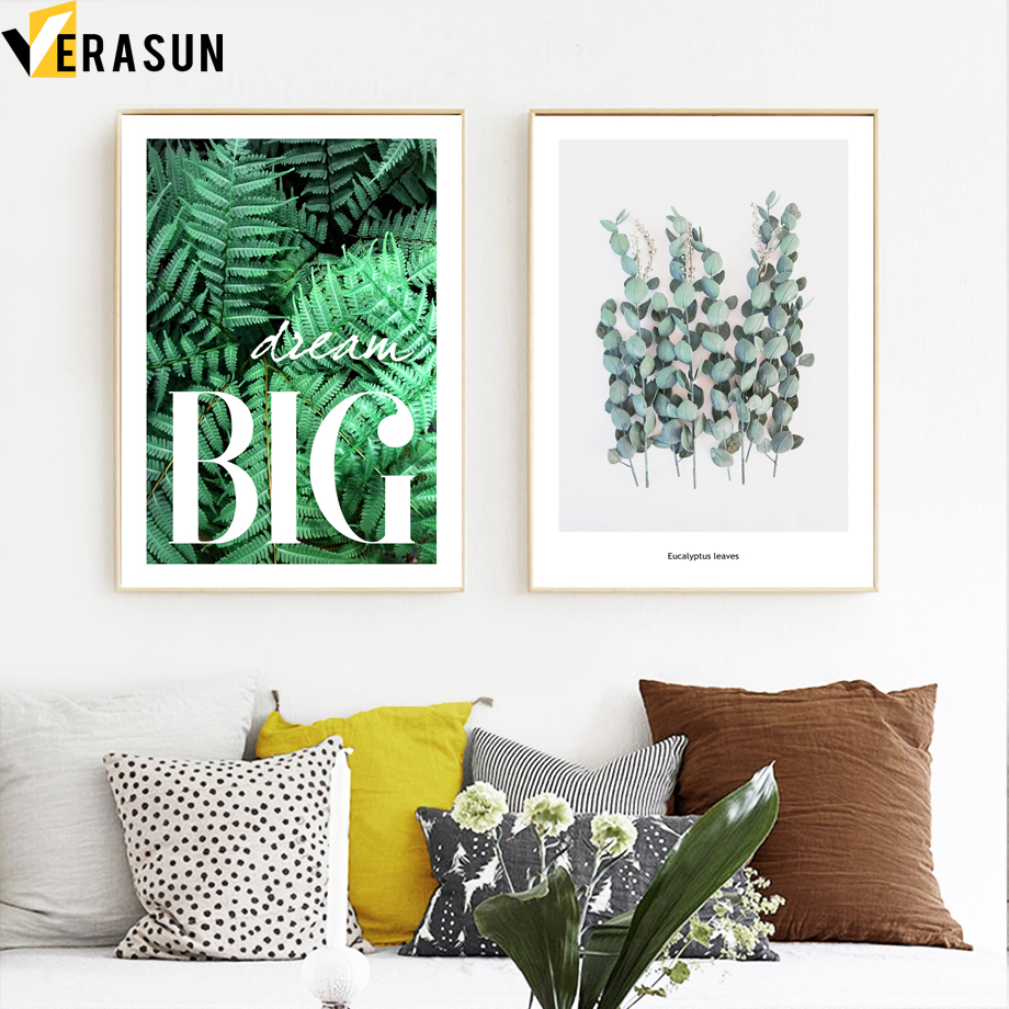 Image 3 - Green Plant Fern Leaves Geometry Quotes Wall Art Canvas Painting Nordic Posters And Prints Wall Pictures For Living Room Decor-in Painting & Calligraphy from Home & Garden