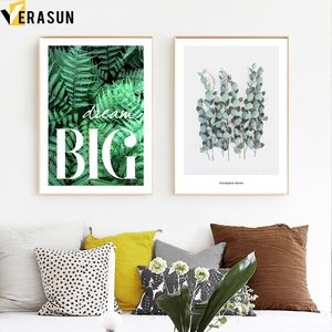 Image 3 - Green Plant Fern Leaves Geometry Quotes Wall Art Canvas Painting Nordic Posters And Prints Wall Pictures For Living Room Decor