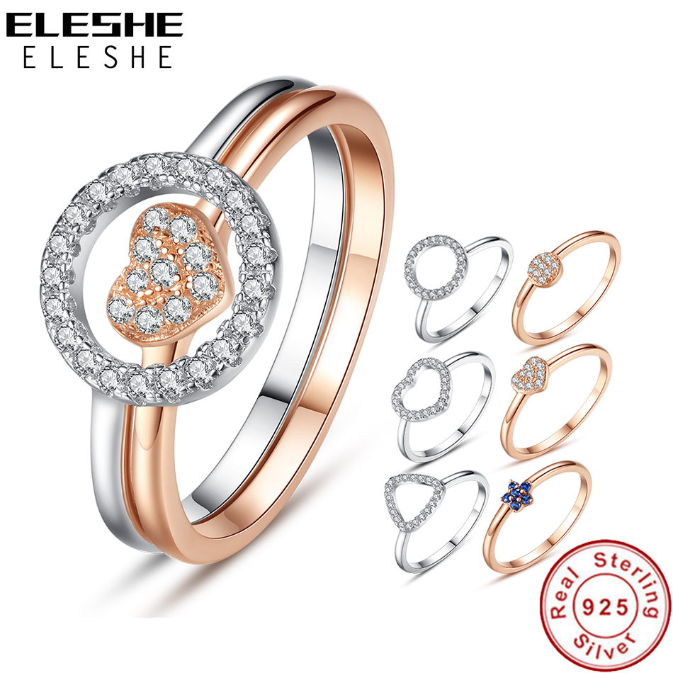 ELESHE модные Искрящийся фианит Кристалл полый круглый перстень Настоящее серебро 925 пробы кольца для Для женщин ювелирные изделия купить на AliExpress