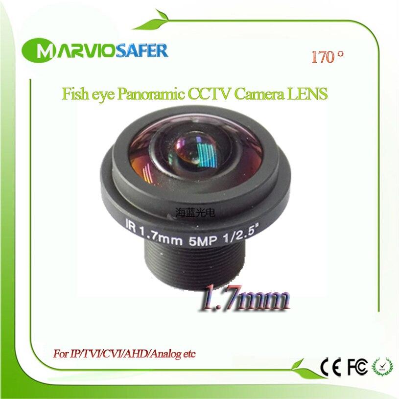 Marviosafer HD Fisheye objectif cctv 5MP 1.7 MM M12 * 0.5 Montage 1/2. 5 F2.0 180 degrés pour la sécurité CCTV IP Réseau/AHD/TVI/CVI caméras
