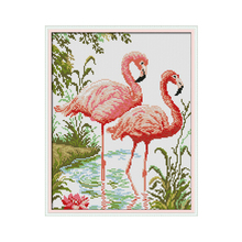 Two Flamingos DIY Diamond Painting Full Drill Square Special Shaped Round Partial Embroidery Icons