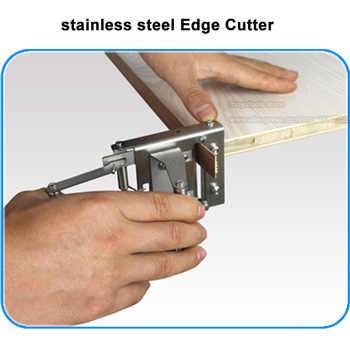 สแตนเลสสตีลเครื่องตัดขอบ end อุปกรณ์ตัดตรงและรอบ PVC ตัด curve ขอบแถบ