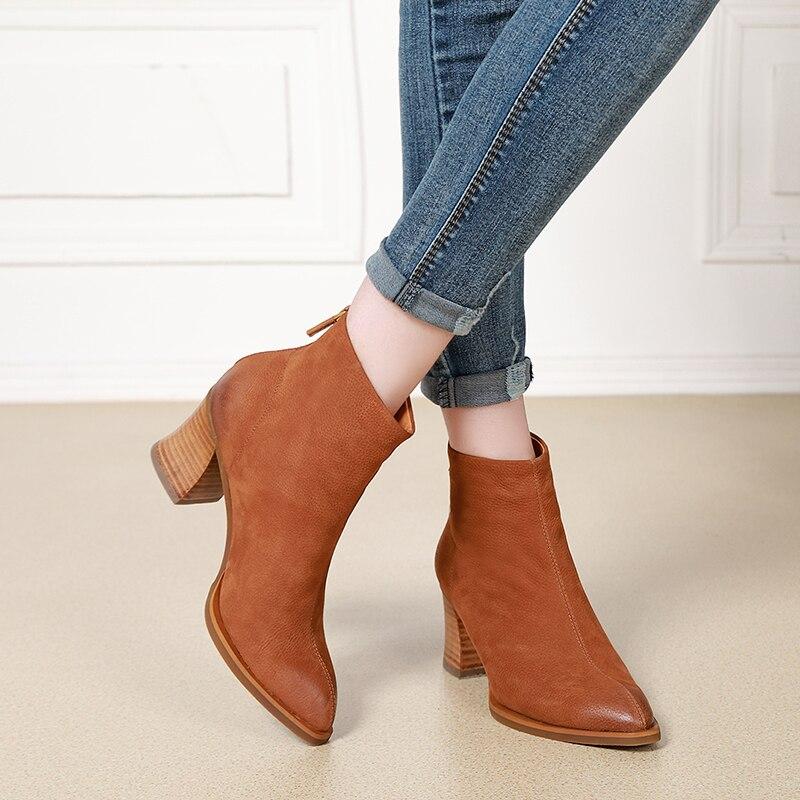 2018 herbst Winter Spitz Schuhe Frauen Stiefeletten Handmade Block Heels Echtem Leder Schnee Stiefel Damen Warme Stiefel-in Knöchel-Boots aus Schuhe bei  Gruppe 3