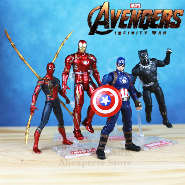 Marvel Avengers 3 Infinity War Iron Spider Man Captain America Spiderman Black Panther Vision Falcon Action Figure  15cm