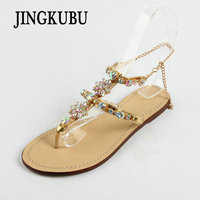 JINGKUBU 2018 New Bohemian Women Sandals Crystal Flat Heel Sandalias Rhinestone Chain Women Shoes Thong Flip
