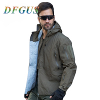 DFGUS Brand Hardshell Camouflage Men Windbreaker Clothes, Military Waterproof Army Autumn Jacket, Tactical Multicam Coat for Men