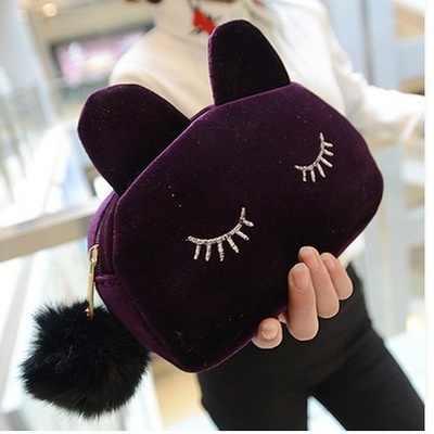 Цветной дизайнерский чехол для хранения монет с рисунком кота из мультфильма, фланелевый косметический чехол для путешествий