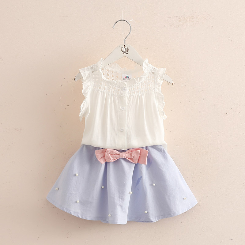 Girls Skirts Blouse Skirt Sets Todder Girl White Shirt and Bule Top Skirt 2 Pcs Kids Clothing Sets Summer Outfit Set 3 Years 8T