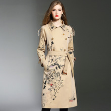 Trench coat for women luxury embroidered long coats