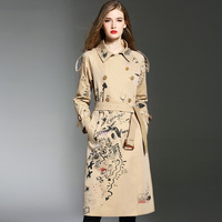 Trench coat for women luxury embroidered long coats woman winter 2018 trending styles female ladies trenchcoat AA4315