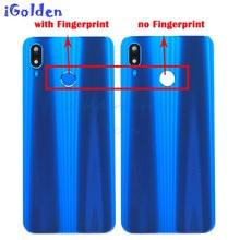 Pour Huawei P20 Lite batterie arrière couvercle arrière porte boîtier panneau en verre + lentille de lappareil photo + bouton dempreintes digitales Nova 3e porte de la batterie