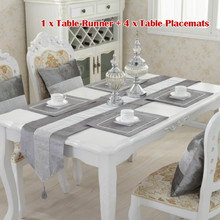 Camino de mesa moderno de terciopelo con diamantes + 4 manteles individuales para comedor decoración del hogar Decoración para fiesta de boda sin funda de cojín