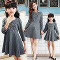 2015 coreano moda correspondência mãe filha família roupas chiffon sólida e beading arco deco mãe e filha