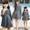 2015 familia coreana de moda juego de madre e hija de la gasa solid top & partida bow deco madre e hija vestido