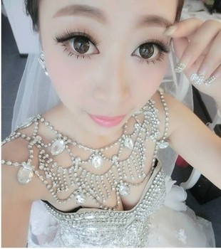 Fashion Bridal Shoulder Chain Necklace Rhinestone Crystal Choker Bid Necklace Wedding Party Body Chokers Necklace Jewelry chain